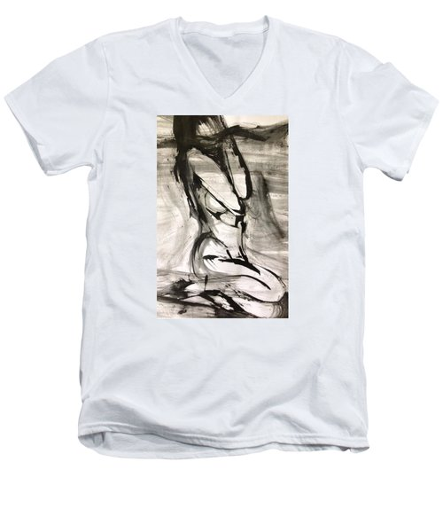 Men's V-Neck T-Shirt featuring the drawing Shy by Helen Syron