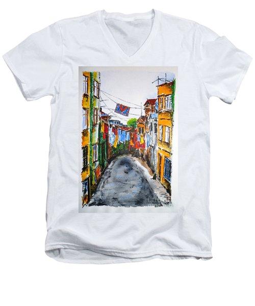 Side Street Men's V-Neck T-Shirt by Zaira Dzhaubaeva