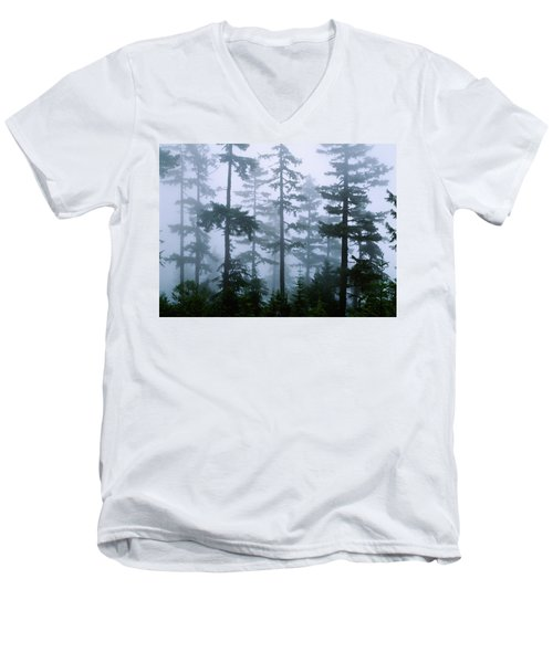 Silhouette Of Trees With Fog Men's V-Neck T-Shirt by Panoramic Images