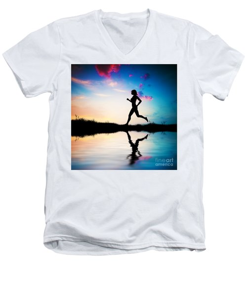 Silhouette Of Woman Running At Sunset Men's V-Neck T-Shirt by Michal Bednarek
