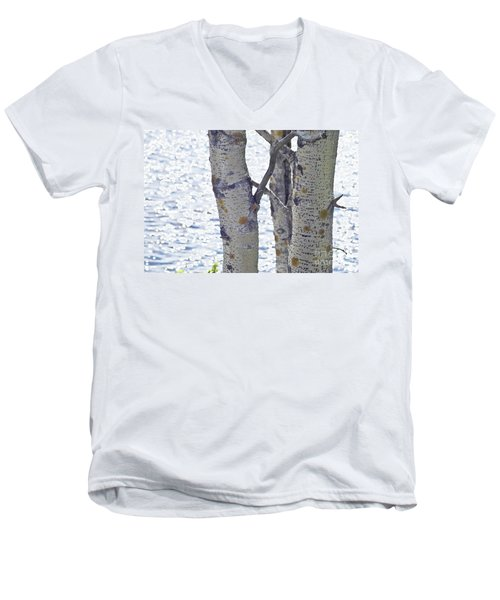 Silver Birch Trees At A Sunny Lake Men's V-Neck T-Shirt by Heiko Koehrer-Wagner