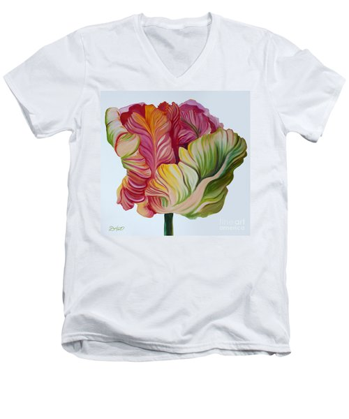 Simple Tulip Men's V-Neck T-Shirt by Debbie Hart