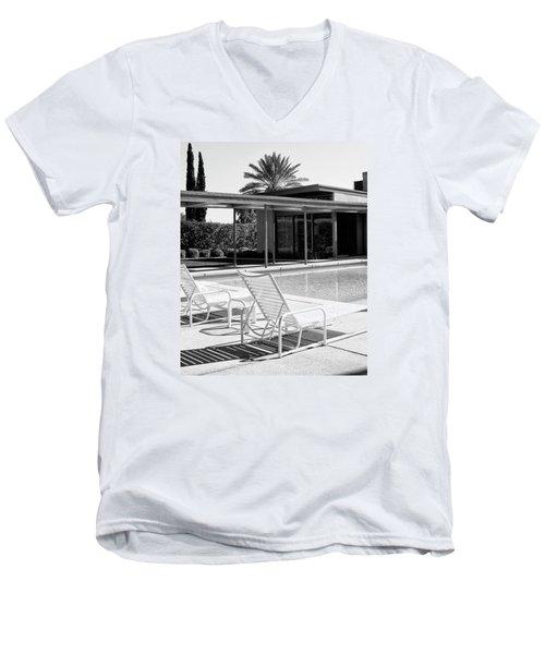 Sinatra Pool Bw Palm Springs Men's V-Neck T-Shirt by William Dey