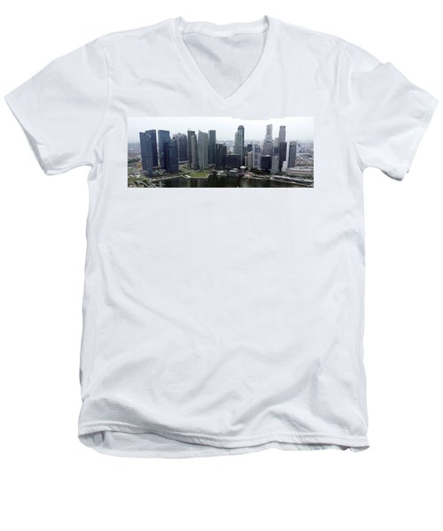 Men's V-Neck T-Shirt featuring the photograph Singapore Skyline by Shoal Hollingsworth