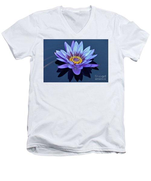 Single Lavender Water Lily Men's V-Neck T-Shirt