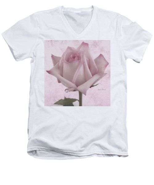 Single Pink Rose Blossom Men's V-Neck T-Shirt by Sandra Foster