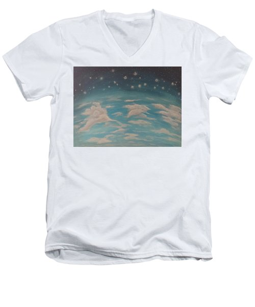 Men's V-Neck T-Shirt featuring the painting Sitting On Top Of The World by Thomasina Durkay