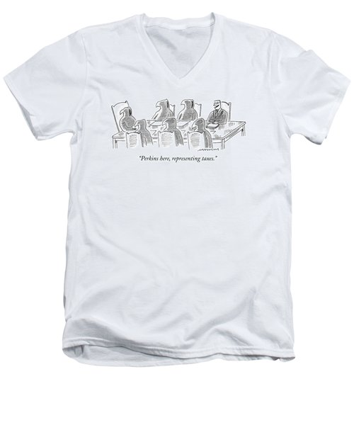 Six Grim Reapers Sit At A Conference Table Men's V-Neck T-Shirt