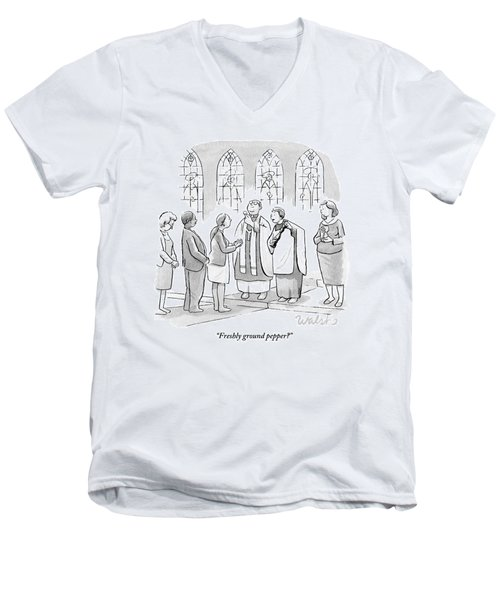 Six People In Church Men's V-Neck T-Shirt