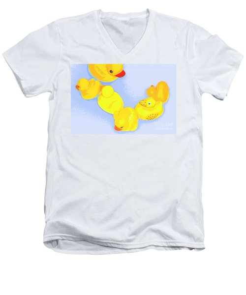 Men's V-Neck T-Shirt featuring the digital art Six Rubber Ducks by Valerie Reeves