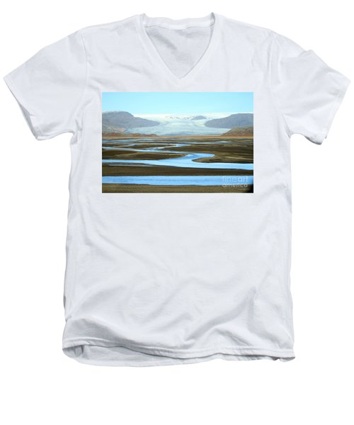 Men's V-Neck T-Shirt featuring the photograph Skaftafell Glacier by Paula Guttilla