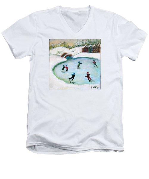 Skating Pond Men's V-Neck T-Shirt by Laurie Morgan