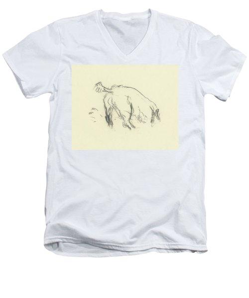 Sketch Of A Dog Digging A Hole Men's V-Neck T-Shirt