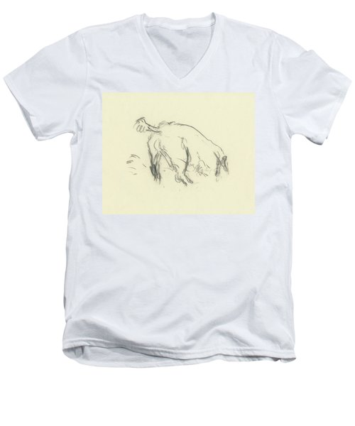 Sketch Of A Dog Digging A Hole Men's V-Neck T-Shirt