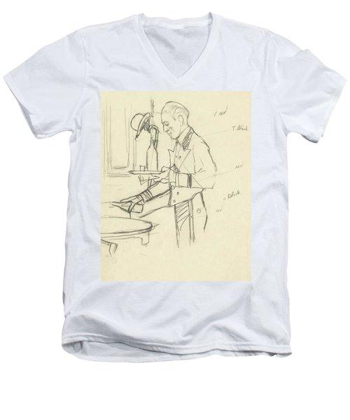 Sketch Of Waiter Pouring Wine Men's V-Neck T-Shirt
