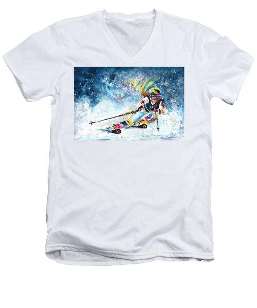 Skiing 03 Men's V-Neck T-Shirt