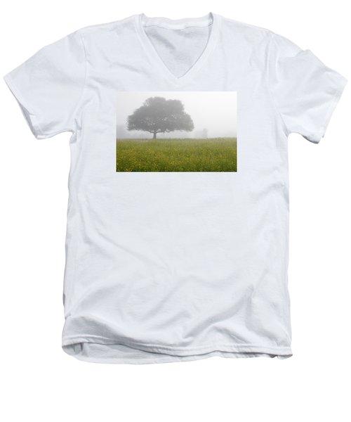 Skc 0056 Tree In Fog Men's V-Neck T-Shirt by Sunil Kapadia