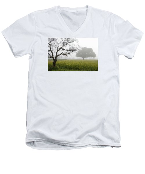 Skc 0058 Contrasty Trees Men's V-Neck T-Shirt
