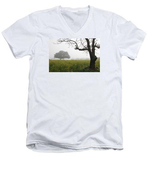 Men's V-Neck T-Shirt featuring the photograph Skc 0060 Framed Tree by Sunil Kapadia