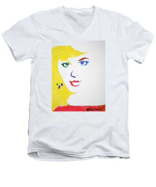 Men's V-Neck T-Shirt featuring the painting Blonde Mother Nature by Stormm Bradshaw
