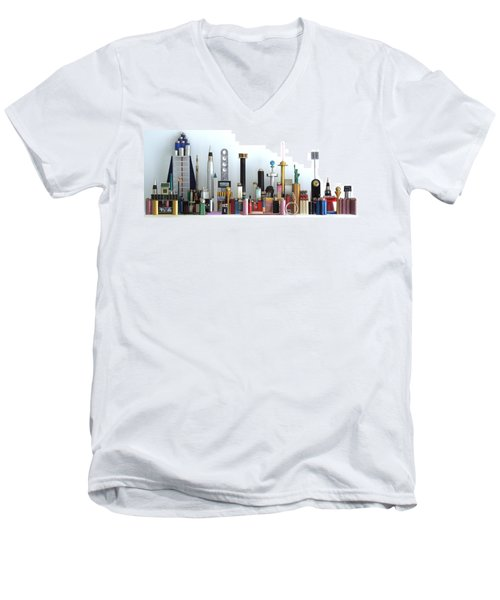 Skyline Sculpture Men's V-Neck T-Shirt