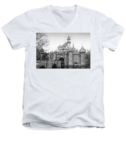 Sleeping Beauty Castle Disneyland Side View Bw Men's V-Neck T-Shirt by Thomas Woolworth
