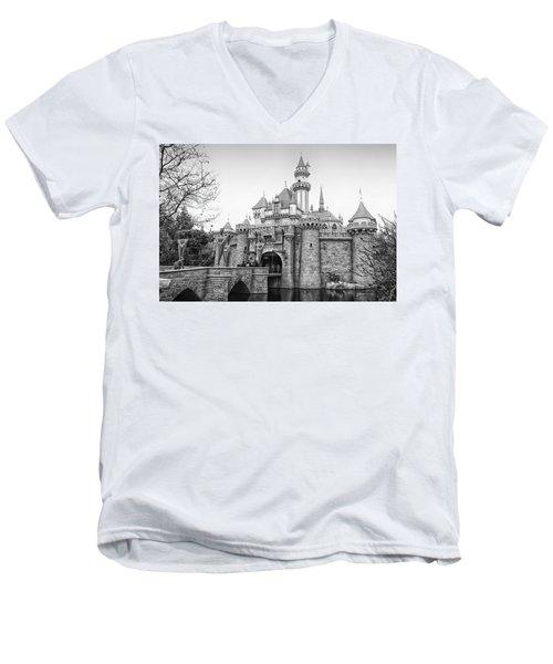 Sleeping Beauty Castle Disneyland Side View Bw Men's V-Neck T-Shirt