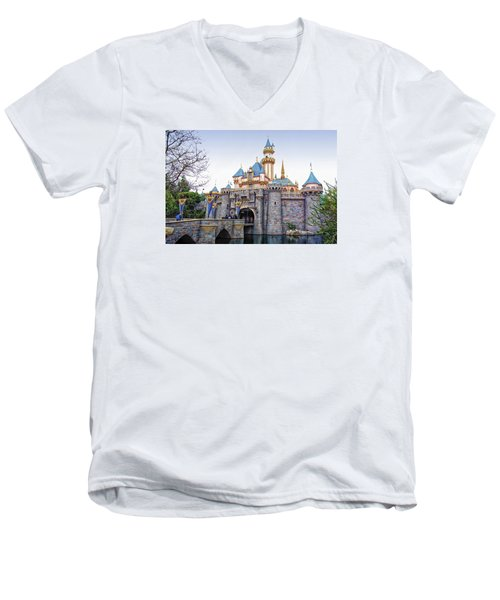 Sleeping Beauty Castle Disneyland Side View Men's V-Neck T-Shirt by Thomas Woolworth