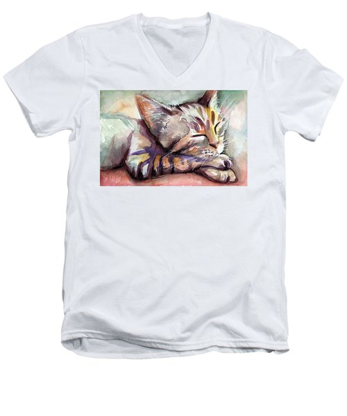 Sleeping Kitten Men's V-Neck T-Shirt
