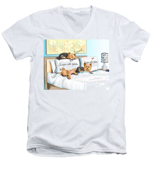 Sleeps With Yorkies Men's V-Neck T-Shirt by Catia Cho