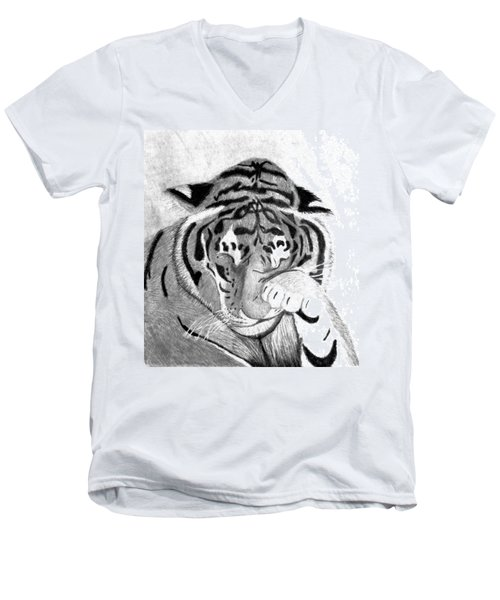 Sleepy Tiger Men's V-Neck T-Shirt