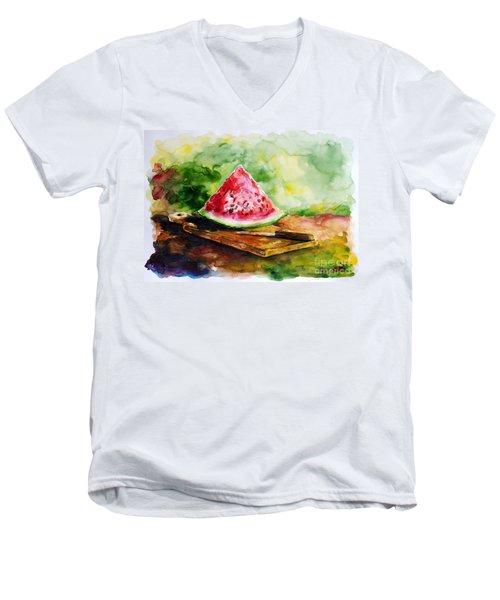 Sliced Watermelon Men's V-Neck T-Shirt by Zaira Dzhaubaeva