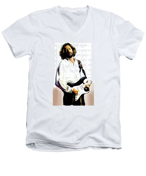 Slow Hand  Eric Clapton Men's V-Neck T-Shirt by Iconic Images Art Gallery David Pucciarelli