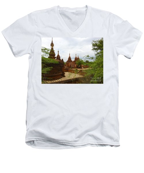 Men's V-Neck T-Shirt featuring the photograph Smaller Temples Next To Dhammayazika Pagoda Built In 1196 By King Narapatisithu Bagan Burma by Ralph A  Ledergerber-Photography