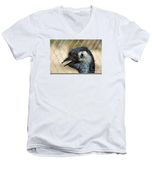 Smiley Face Emu Men's V-Neck T-Shirt by Kaye Menner
