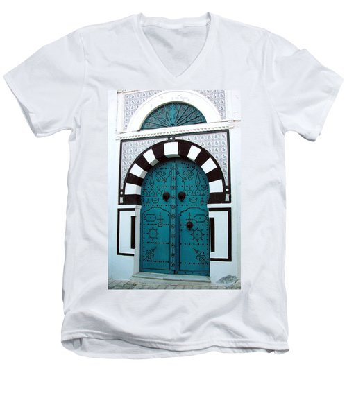 Smiling Moon Door Men's V-Neck T-Shirt by Donna Corless