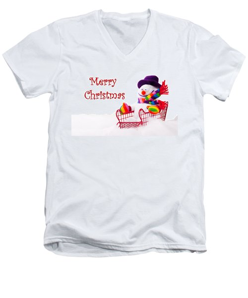 Men's V-Neck T-Shirt featuring the photograph Snowman Riding In A Red Sleigh - Christmas  by Vizual Studio