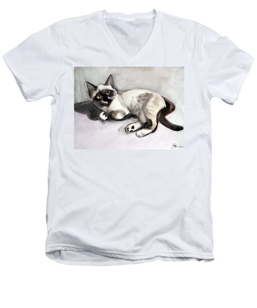Smudge At 8 Weeks  Men's V-Neck T-Shirt
