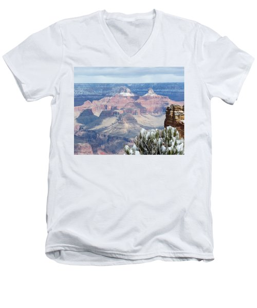 Snow At The Grand Canyon Men's V-Neck T-Shirt