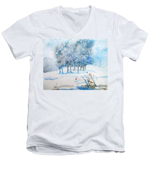 Snow Blizzard In The Grove  Men's V-Neck T-Shirt by Trudi Doyle