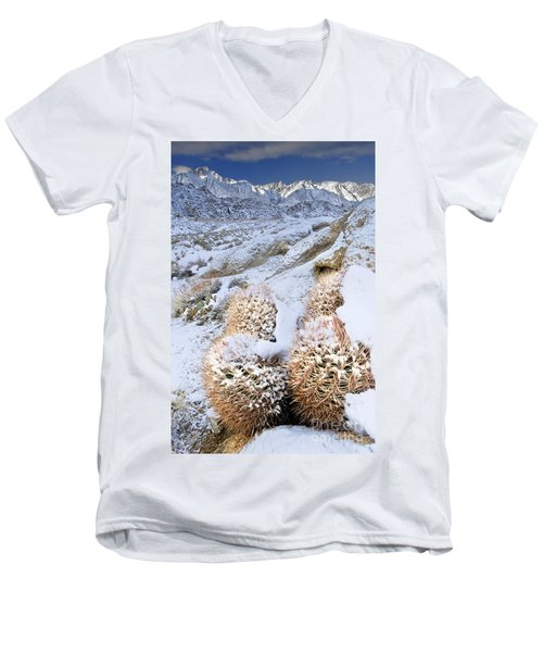 Men's V-Neck T-Shirt featuring the photograph Snow Covered Cactus Below Mount Whitney Eastern Sierras by Dave Welling