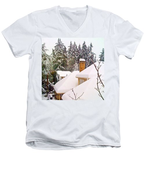 Snow Covered Rooftops - Winter In Lake Oswego Or Men's V-Neck T-Shirt by Anna Porter