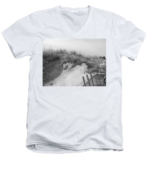 Men's V-Neck T-Shirt featuring the photograph Snow Covered Sand Dunes by Eunice Miller