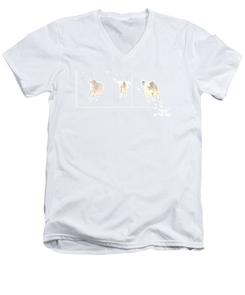 Snow Dance Men's V-Neck T-Shirt by Carol Lynn Coronios