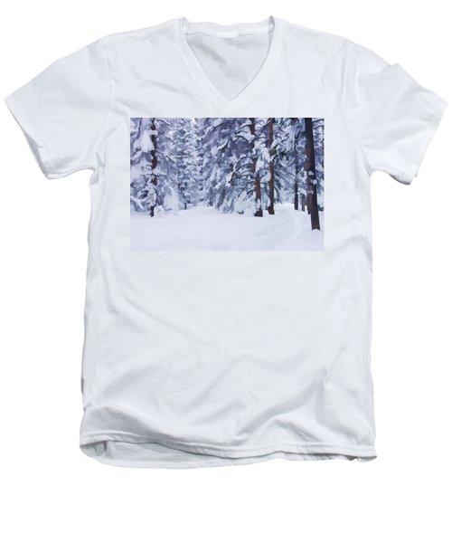 Snow-dappled Woods Men's V-Neck T-Shirt
