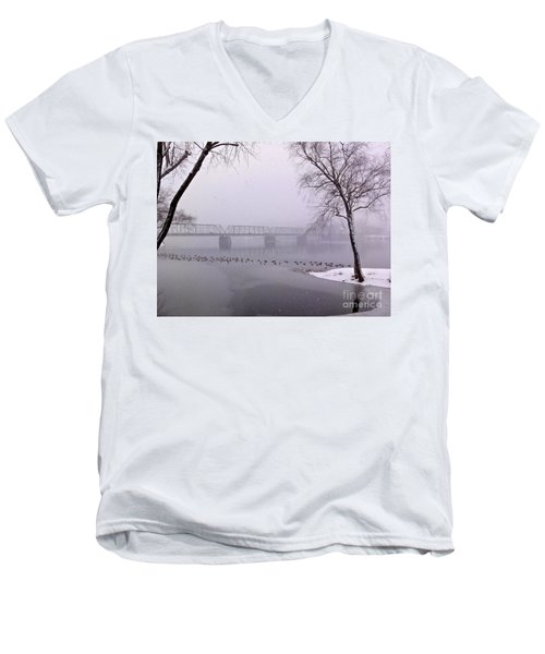 Snow From Lewis Island Bridge Men's V-Neck T-Shirt