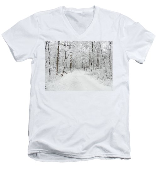 Snow In The Park Men's V-Neck T-Shirt by Raymond Salani III