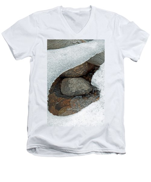 Men's V-Neck T-Shirt featuring the photograph Snow Melt 1 by Minnie Lippiatt