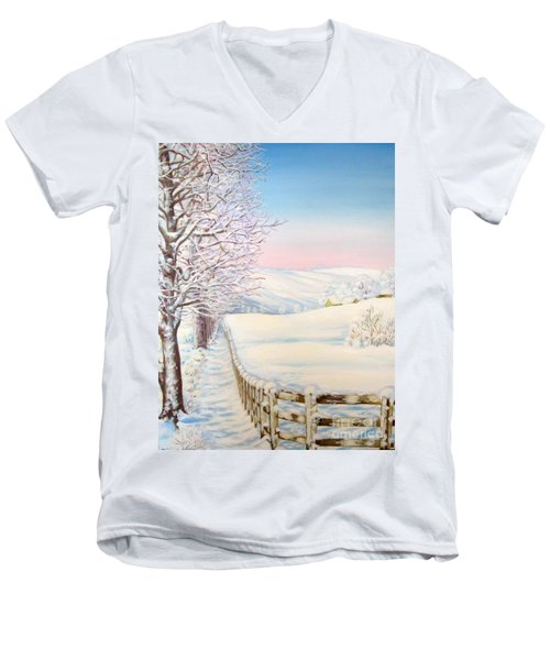 Snow Path Men's V-Neck T-Shirt by Inese Poga