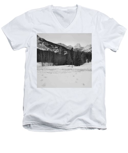 Snow Prints Men's V-Neck T-Shirt by Cheryl Miller